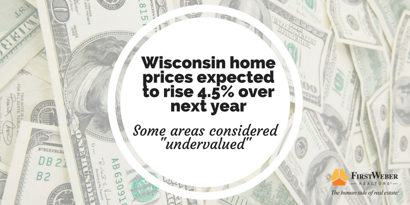 Wisconsin home prices expected to rise 4.5% over next year