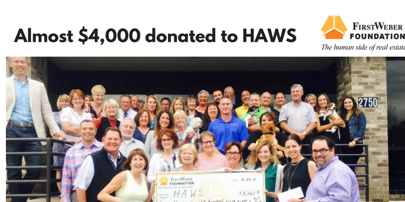 First Weber Lake Country, A+ Mortgage & First Weber Foundation donate almost $4000 to HAWS