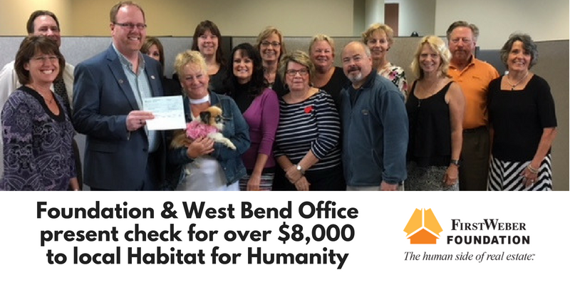 First Weber West Bend presents check to Habitat for Humanity of Washington and Dodge Counties
